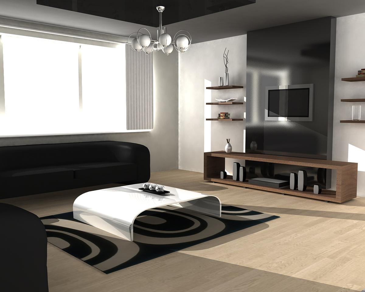 С помощью темного потолка и светлых стен можно визуально расширить гостиную