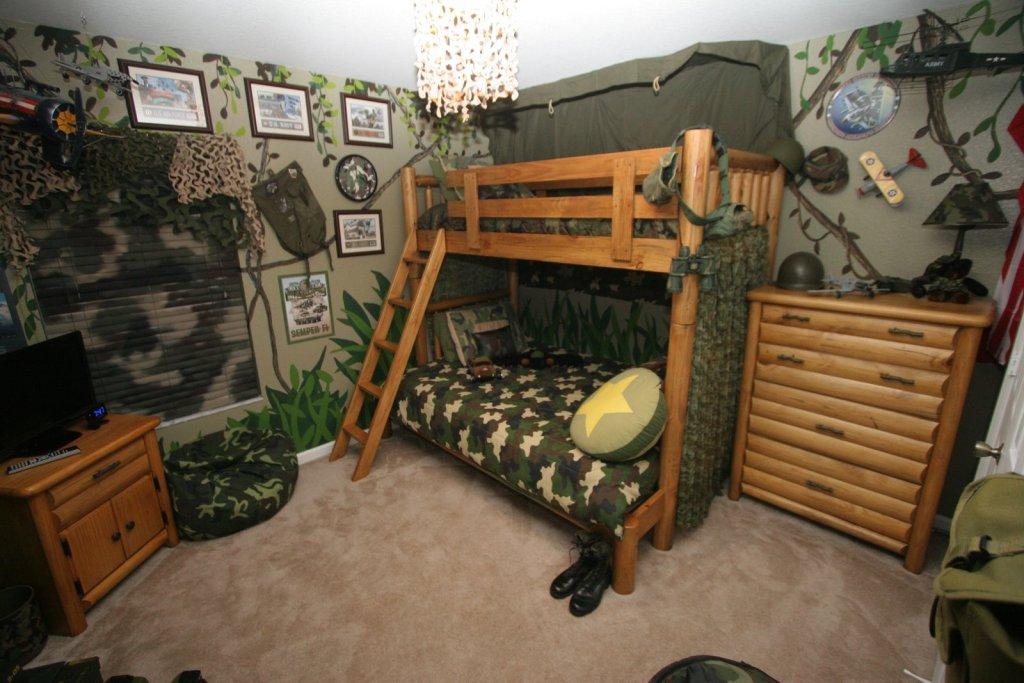 Детская комната для мальчика-подростка в стиле милитари
