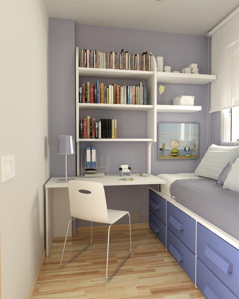 Пример дизайна интерьера маленькой комнаты для подростка