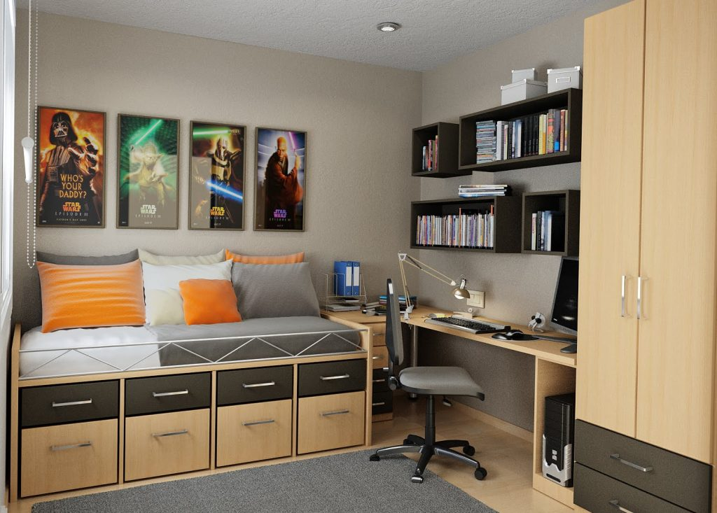 Мебель можно разместить по отношению к другим элементам интерьера так, чтобы она легко превращалась в зону отдыха из рабочей или спальной зоны