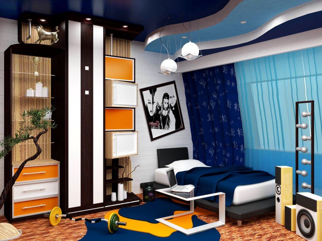 Зеленый, голубой, желтый, оранжевый и белый — подходящие цвета для оформления комнаты для подростка