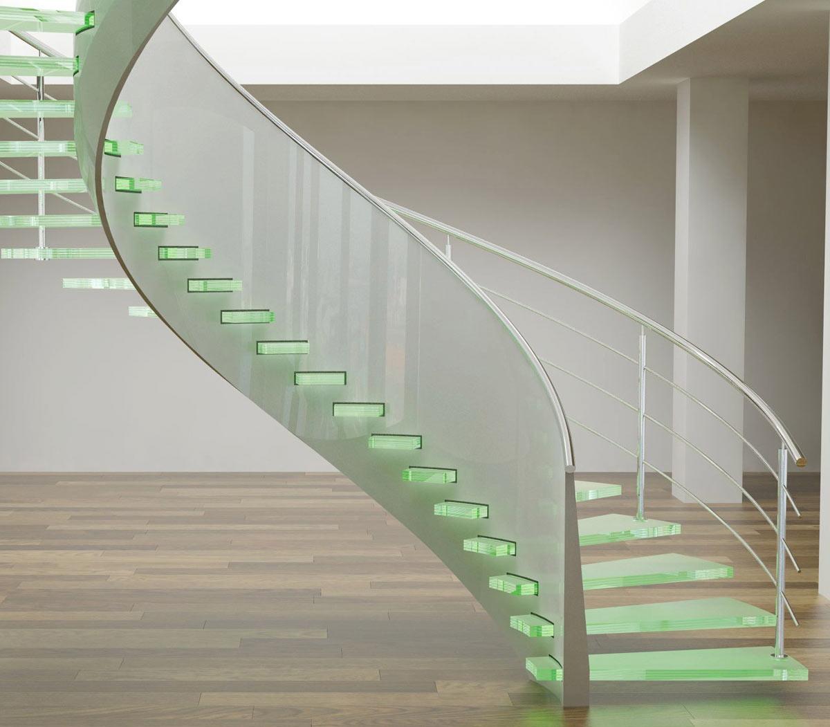Пример лестницы со стеклянными ступеньками