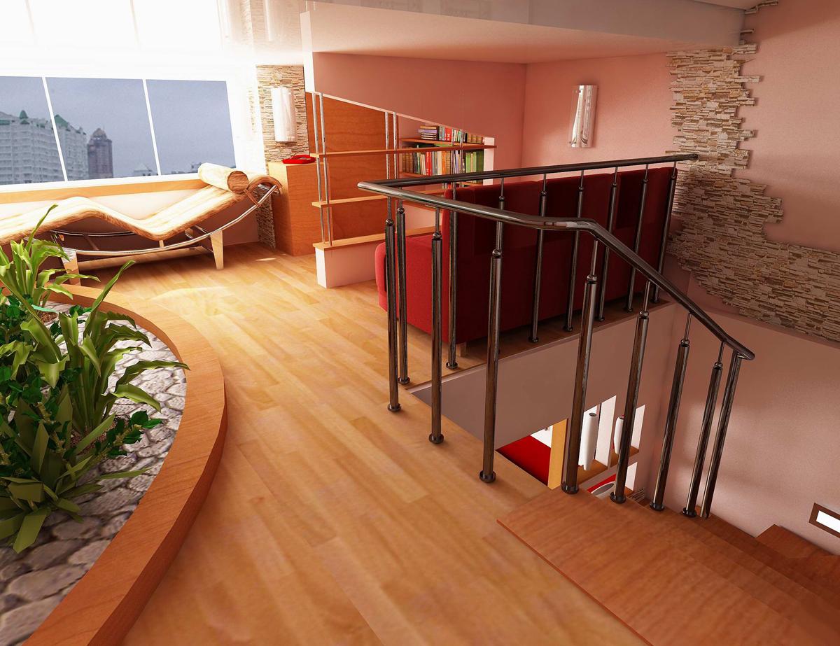 Вариант дизайна двухуровневой квартиры в современном стиле