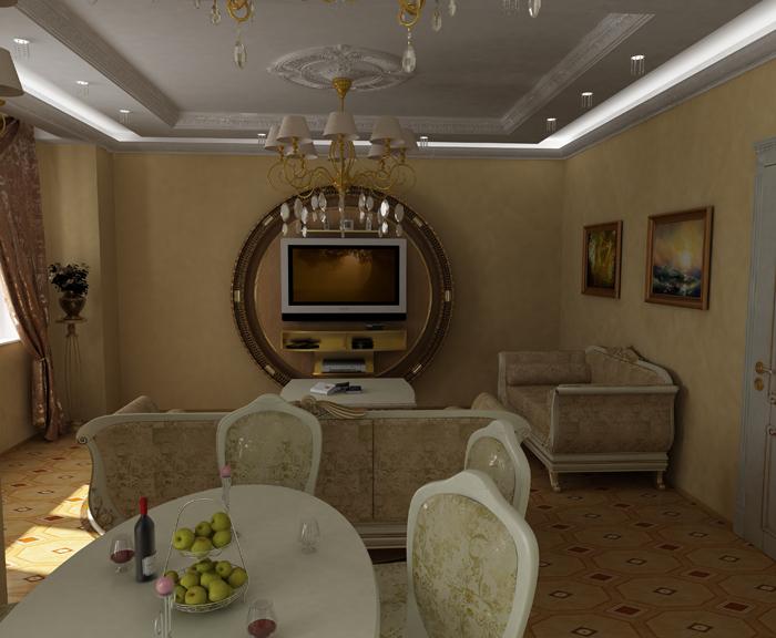 Пример сочетания классики и современных технологий в гостиной