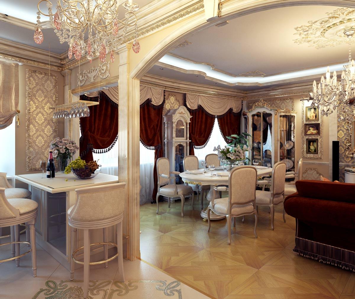 Зонирование гостиной осуществляется с помощью разных покрытий – паркета и плитки с узором