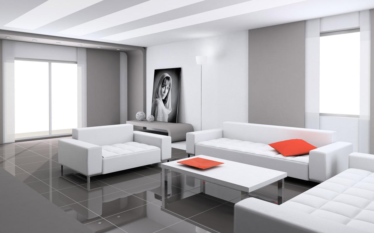 Незанавешенные окна, светлые потолок и стены создают необходимые для гостиной ощущения простора и легкости