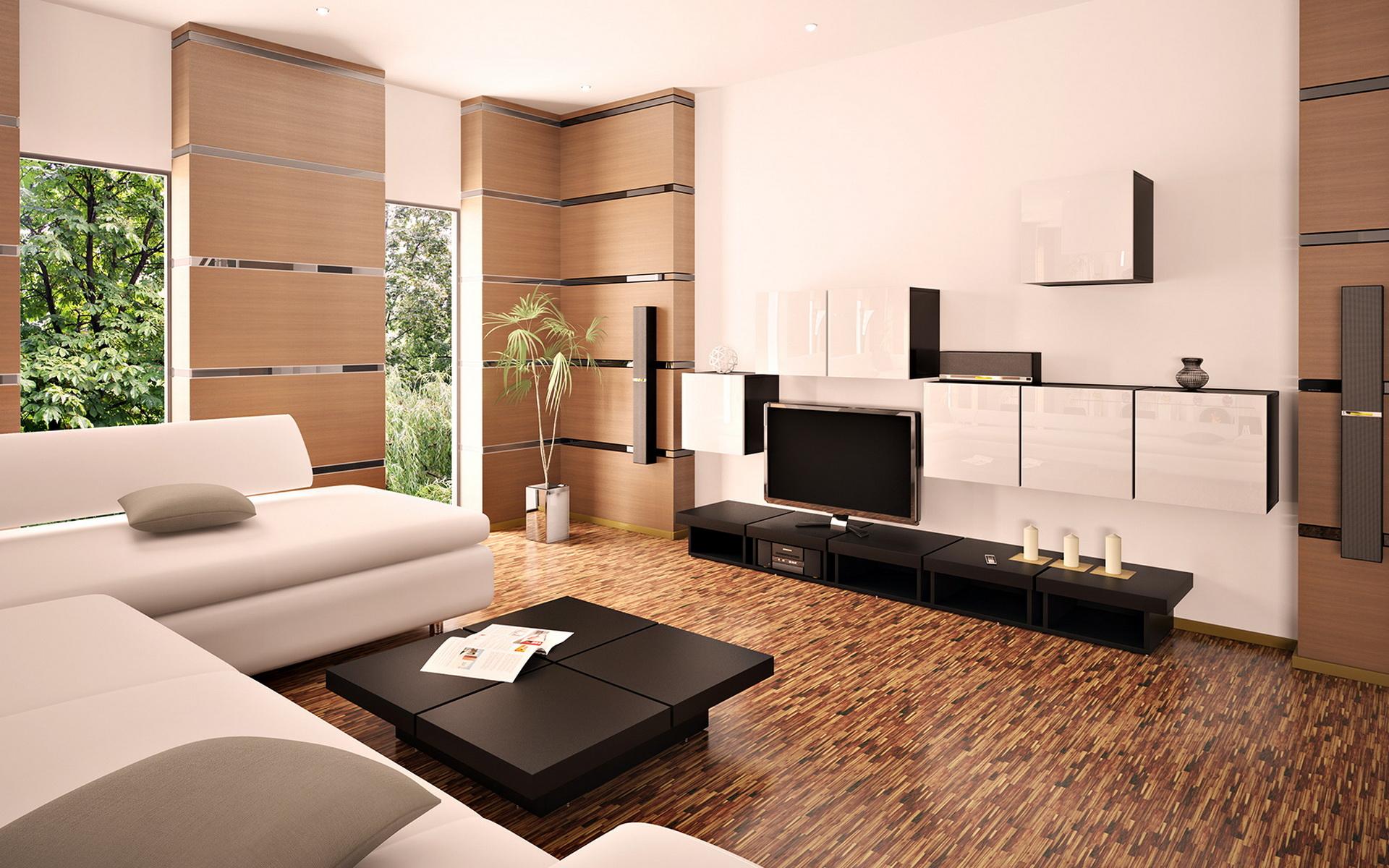 Окна в гостиной в стиле минимализм желательно занавешивать легкой тюлю или жалюзями