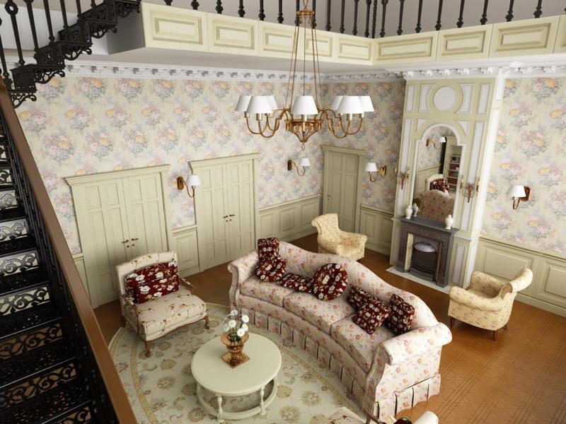 Кованая лестница, обои с цветочным рисунком и обивка характерны для прованса