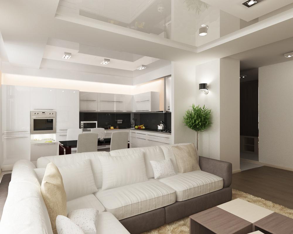 Интерьер гостиной с кухней в хрущевке
