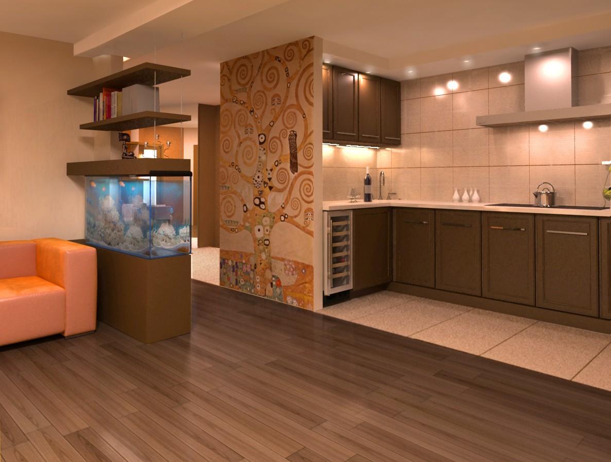 Интерьер дизайн кухня гостиная фото.