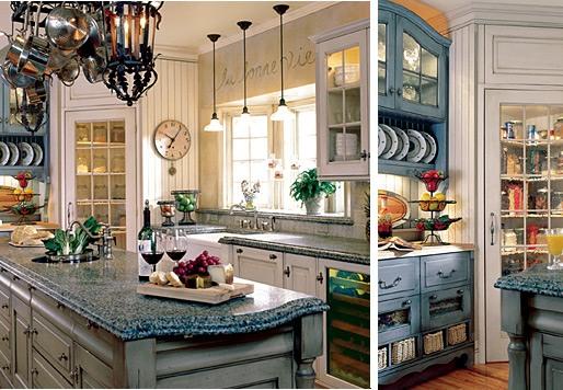 Кухня в стиле прованс из зонированым освещения