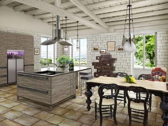 Массивный деревянный стол, резбленные стулья – главные атрибуты кухни прованс