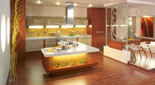 Свет на кухне желательно использовать мягкий и теплый