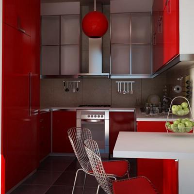 Небольшая кухня модерн в красном цвете