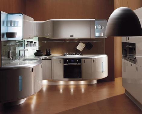 Кухня в стиле модерн может иметь плавные, изогнутые формы
