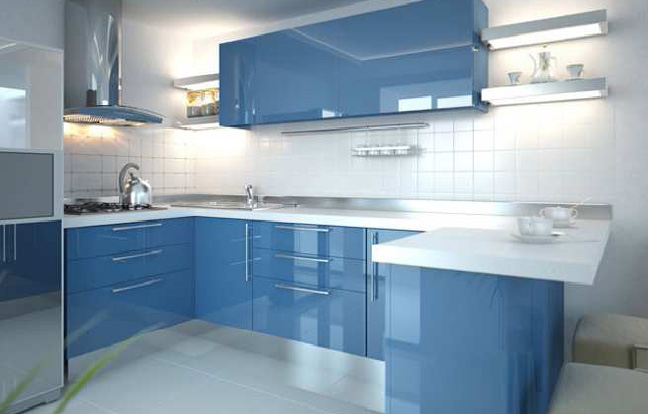 Кухня в стиле модерн с окрашенным фасадом МФД