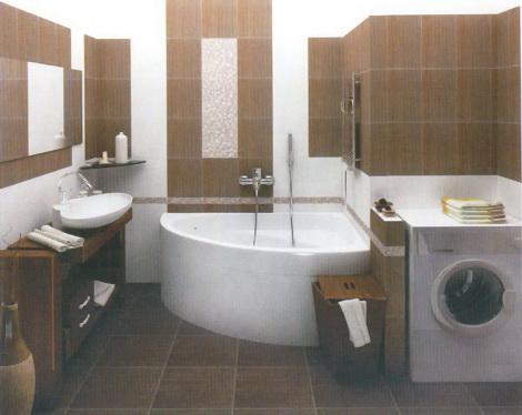 Крупная плитка может стать удачным выбором для маленькой ванной