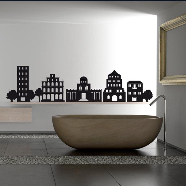 Наклейки на стінах в інтер'єрі ванни