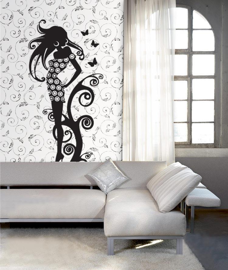 Черно-белые наклейки в интерьере могут занимать всю стену