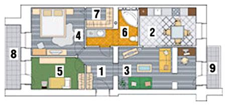 Двухкомнатная квартира после перепланировки