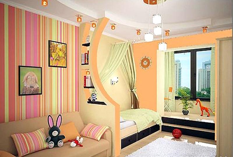 Пример зонирования в интерьере детской комнаты