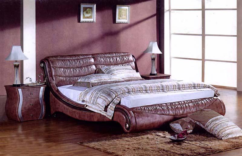 Кожаная кровать в стиле модерн