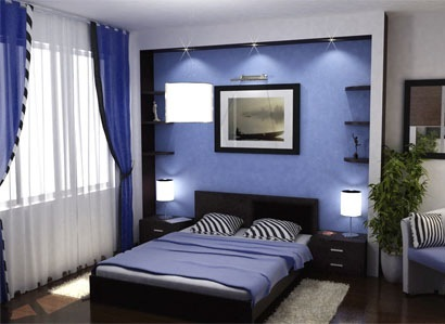 Спальня в стиле модерн в насыщенной цветовой гамме