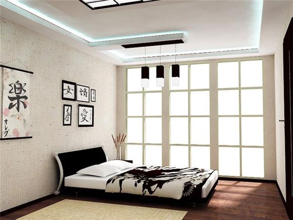 Спальня в японском стиле в бело-черной цветовой гамме