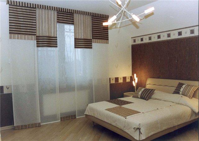 Пример штор в спальне в японском стиле