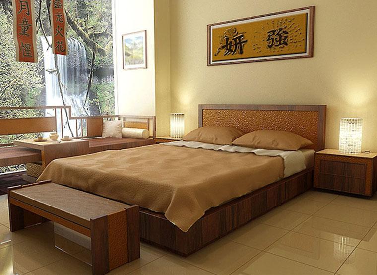 Спальня в японском стиле в кремовой гамме