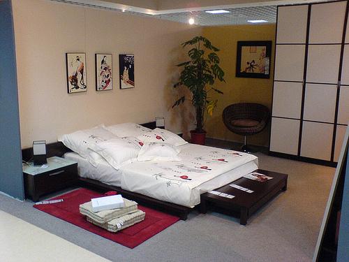Пример использования перегородки для разделения спальной комнаты