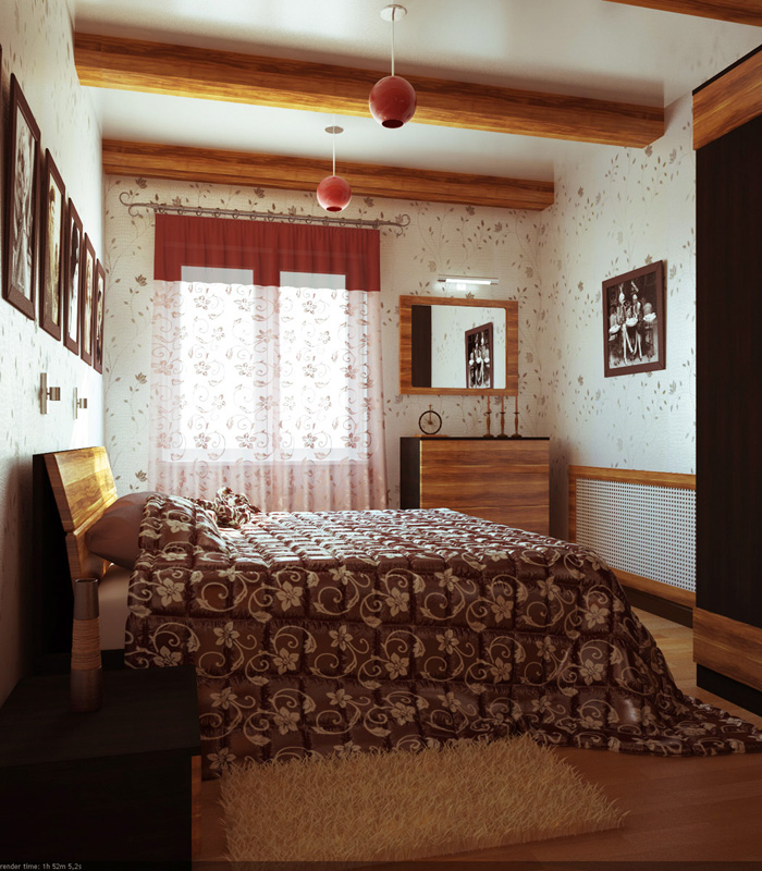 Украсить потолок спальни в стиле кантри можно подвесными балками