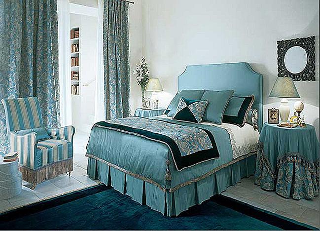Спальня в стиле прованс в цвете морской волны