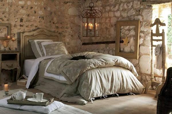Отделка стен спальни в стиле прованс