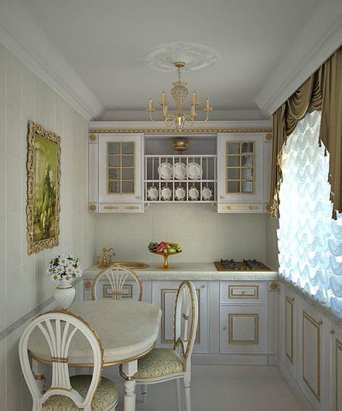Декорированная, но светлая кухонная мебель визуально увеличивает пространство