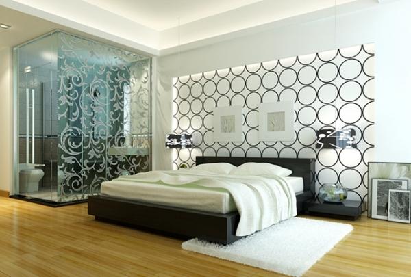 Спальня в стилі хай-тек в чорно-сіро-білій гамі