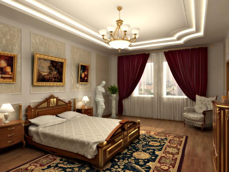 Классическая спальня с использованием цветовой гаммы «под натуральное дерево» с  бронзовой  отделкой