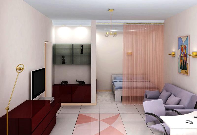 Спальное место в квартире студии за драпировкой