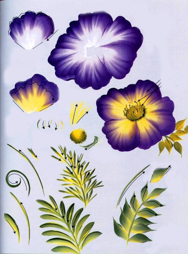 Пример рисования других элементов в технике двойной мазок