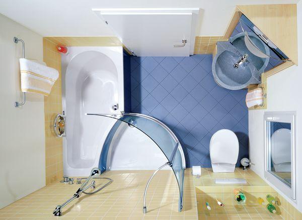 схема как расположить ванну в углу маленькой комнаты.