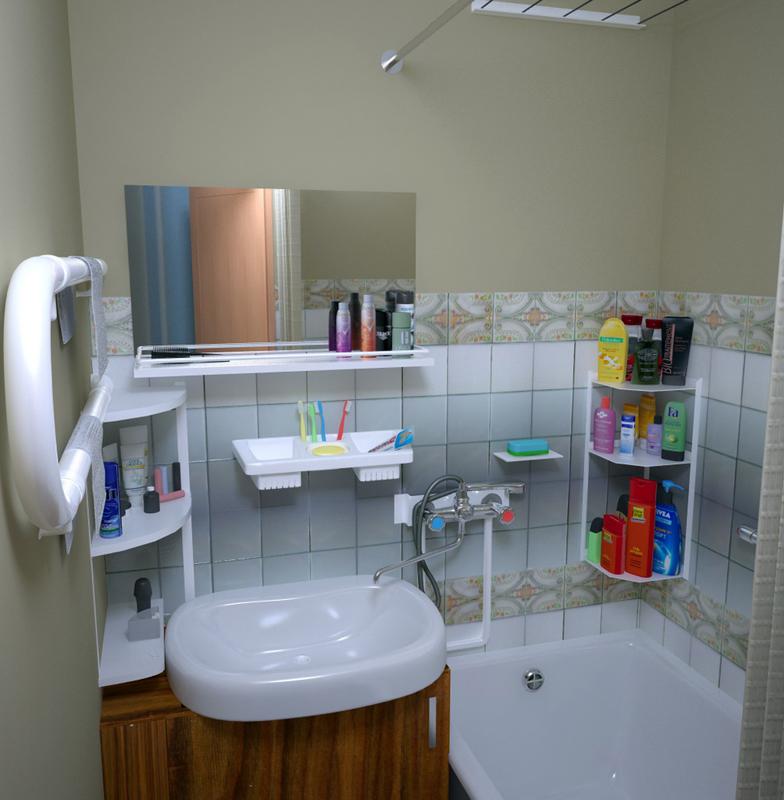 Встроенная раковина хорошо подойдет для маленькой ванной