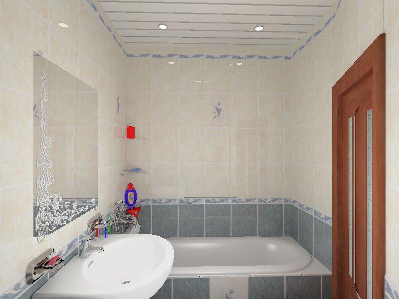 Светлый натяжной потолок в ванной визуально увеличивает пространство