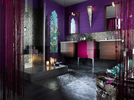 Нестандартный дизайн ванной комнаты с мозаикой