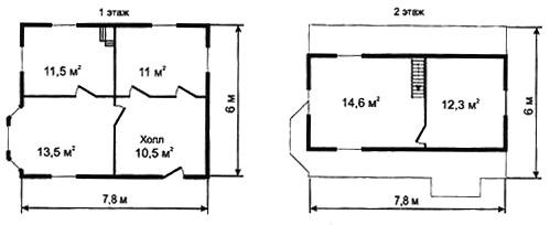Рис. 8в. Второй вариант планировки дома