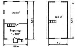 Рис. 9.а. Первый вариант планировки дома