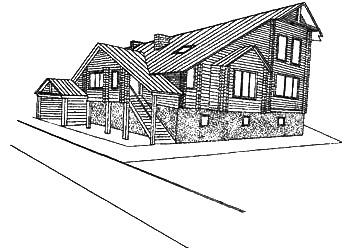 Рис. 10а. Двухэтажный деревянный дом
