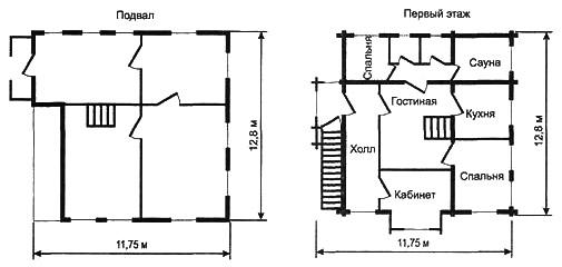 Рис. 10б. Планировка подвала и первого этажа