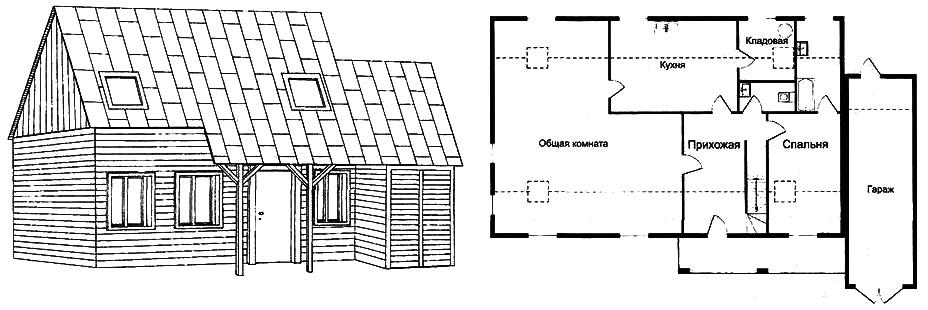 Рис. 2. Общий вид дома 7x11 м с гаражом