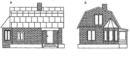 Рис. 8а. Мансардный садовый дом: а. вид сбоку, б. фасад