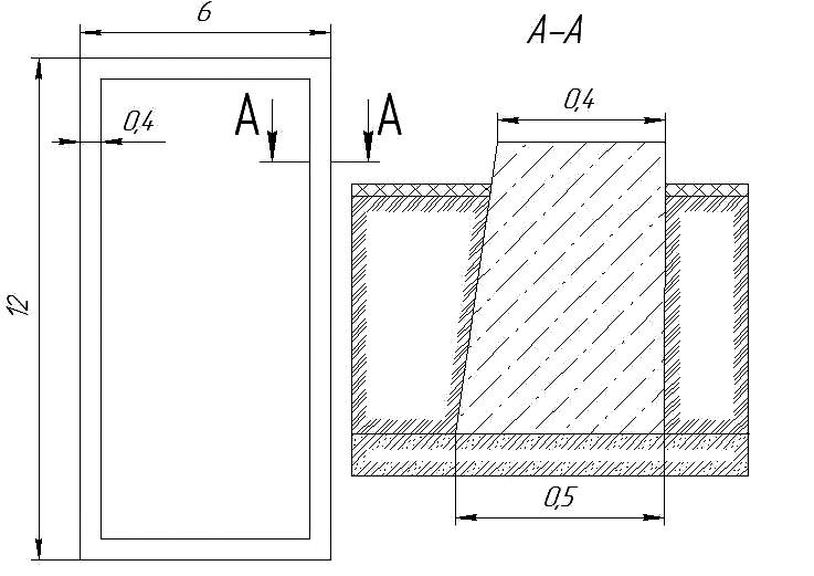 Рис.1. План и сечение ленточного фундамента, расчет которого необходимо выполнить